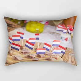 II - Dutch herring ('haring') with onions and pickles on rustic table Rectangular Pillow