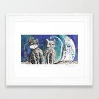 kittens Framed Art Prints featuring kittens by Agata Kowalska