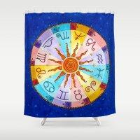 zodiac Shower Curtains featuring Zodiac by Sandra Nascimento