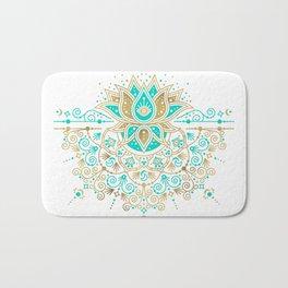 Sacred Lotus Mandala – Turquoise & Gold Palette Bath Mat