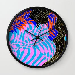 Waves Lines White Lines - Colored Wall Clock