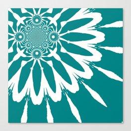 The Modern Flower Teal Canvas Print