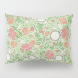 Red roses with pocket watches and butterflies on light green background Pillow Sham
