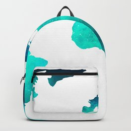 World Map Space Galaxy Stars in Turquoise Backpack