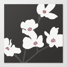 Japanese Anemone Flowers - Black, Red and White Canvas Print