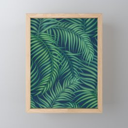 Night tropical palm leaves Framed Mini Art Print