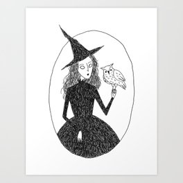 Witch & Familiar Art Print