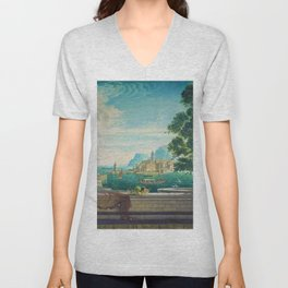 Capriccio of a Mediterranean Seaport Landscape No. 2 by Rex Whistler Unisex V-Neck