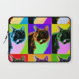 Poster with cat in pop art style Laptop Sleeve