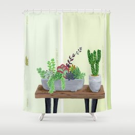 Cacti and Succulents on Greens Shower Curtain