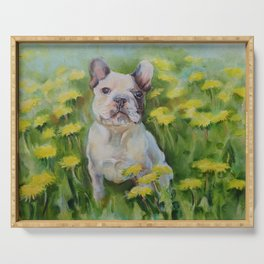 Frenchie Cute French Bulldog puppy portrait Bully Dog Pet in the meadow Yellow Flowers Painting Serving Tray
