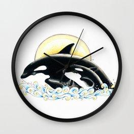Orca Whales Family Sun Cute Ink Wall Clock