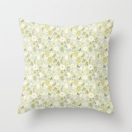 Daisies and Dragonflies (small scale) Throw Pillow