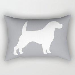 Beagle dog silhouette grey and white simple basic dog breeds art beagles dog Rectangular Pillow