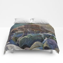 The Mountain King - Cougar Wildlife Art Comforters