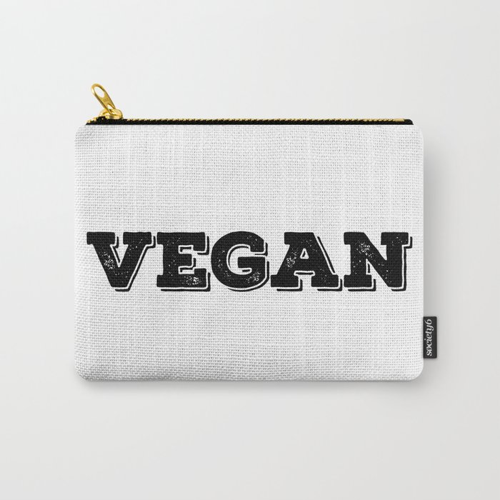 Vegan stamp black letters Carry-All Pouch