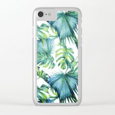 Blue Jungle Leaves, Monstera, Palm #society6 Clear iPhone Case