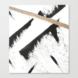Sassy: a minimal abstract mixed-media piece in black, white, and gold by Alyssa Hamilton Art Canvas Print