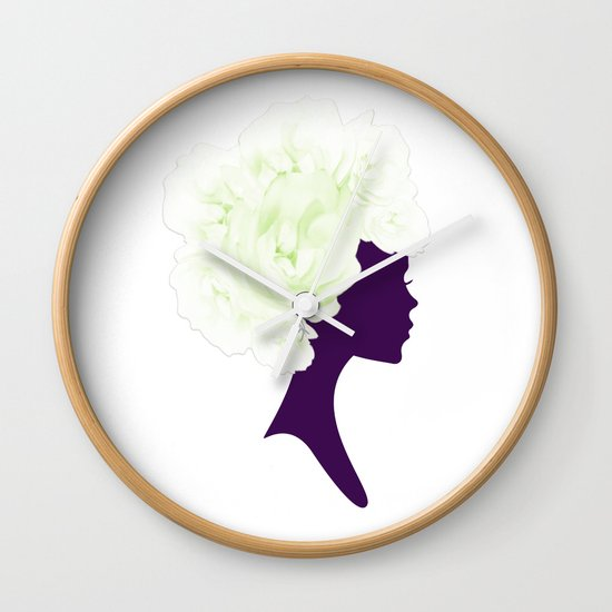 Rose Silhouette Wall Clock