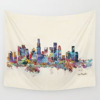 los angeles Wall Tapestries featuring los angeles california skyline by bri.buckley
