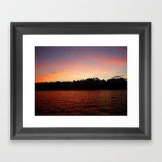 Orange Sunset On Lake Color Photo Framed Art Print