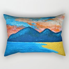 Evening Tide at Murlough - Abstract Seascape Oil Painting Rectangular Pillow