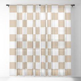Checkered (Tan & White Pattern) Sheer Curtain