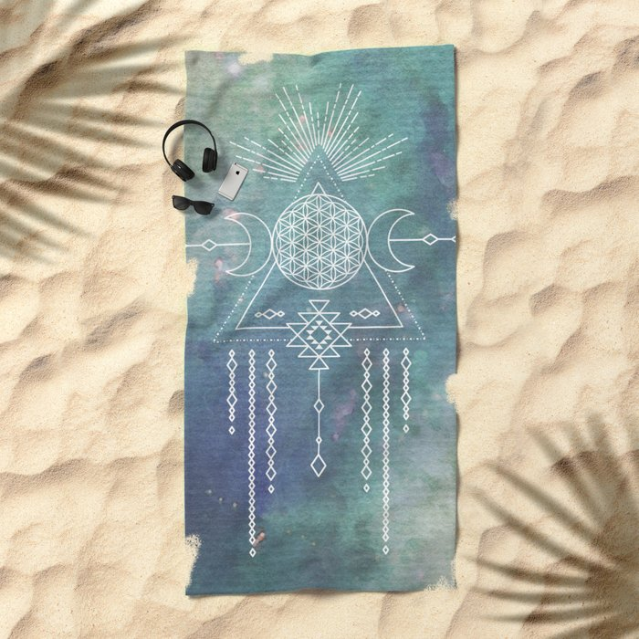 Mandala Flower of Life in Turquoise Stars Beach Towel
