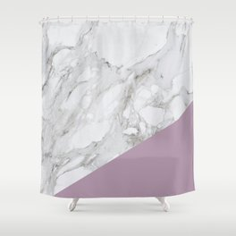 Baesic Purple Marble Shower Curtain