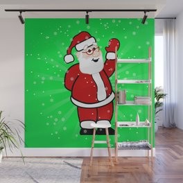 Christmas Santa in Red Suit Green Background Snow Wall Mural
