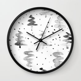 Black and White Chritmas Pines Wall Clock
