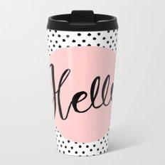 Hello Dots Hand Lettering - pink Metal Travel Mug