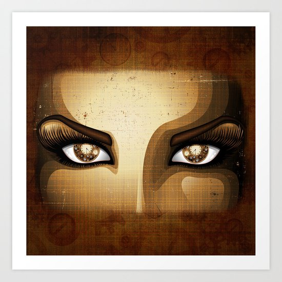 Steampunk Girl Eyes  Art Print