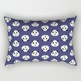 Blue Pixel Panda Pattern Rectangular Pillow