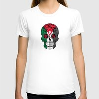 palestine T-shirts featuring Sugar Skull with Roses and Flag of Palestine by Jeff Bartels