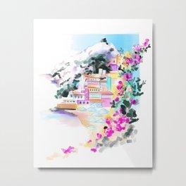 Positano, Italy Travel Illustration Metal Print