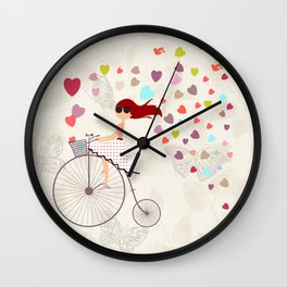 Red haired girl French polka dots dress riding retro bike bicycle backet full of hearts everywhere Wall Clock