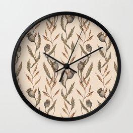 Poppy Pod Pattern Wall Clock