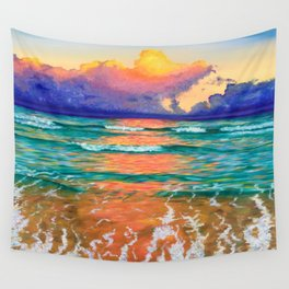 Sunset on the ocean Wall Tapestry
