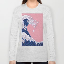 Llama Waves in Pink Long Sleeve T-shirt