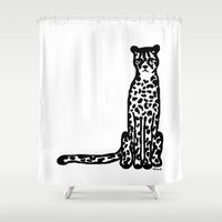 cheetah Shower Curtains featuring Cheetah by Helena's universe