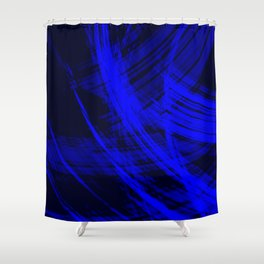 Sharp filaments of metallic ultramarine threads with the energy of magic.  Shower Curtain