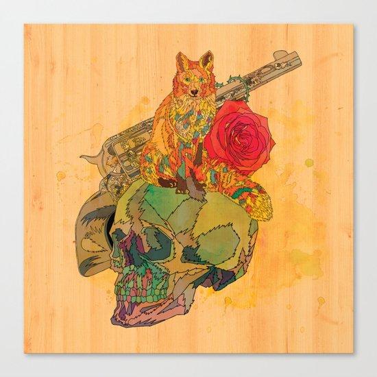 Fox & Rose Canvas Print