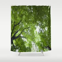 jewish Shower Curtains featuring Leaves and Lace by Brown Eyed Lady