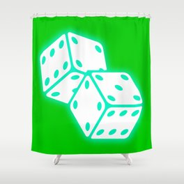 Two game dices neon light design Shower Curtain