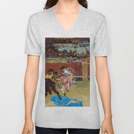 Mariano Fortuny - Bullfight, Wounded Picador - Digital Remastered Edition Unisex V-Neck