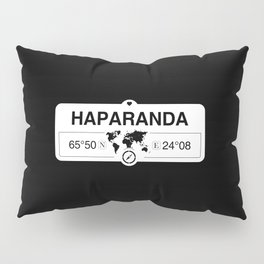 Haparanda Norrbotten with World Map GPS Coordinates Pillow Sham