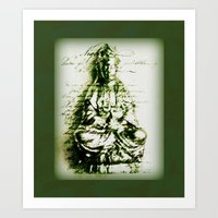 budi satria kwan Art Prints featuring Antique Green Kwan Yin by Jan4insight