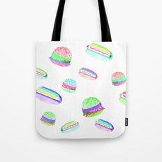 Colorful Hot-Dog and Burger Pattern Tote Bag