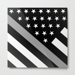 U.S. Flag: Black Flag & The Thin Grey Line Metal Print